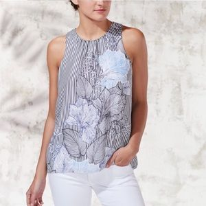 Sleeveless Etched Island Floral Blouse